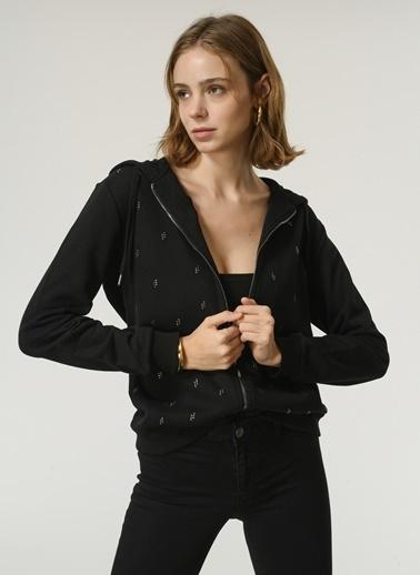 NGSTYLE Taş Detaylı Fermuarlı Kapüşonlu Sweatshırt Siyah
